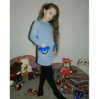 Платье для девочки из трикотажа трехнитки с мехом на карманах
