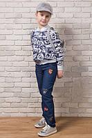 """Детские стильные джинсы """"Нашивки"""" в расцветках (58-051)"""