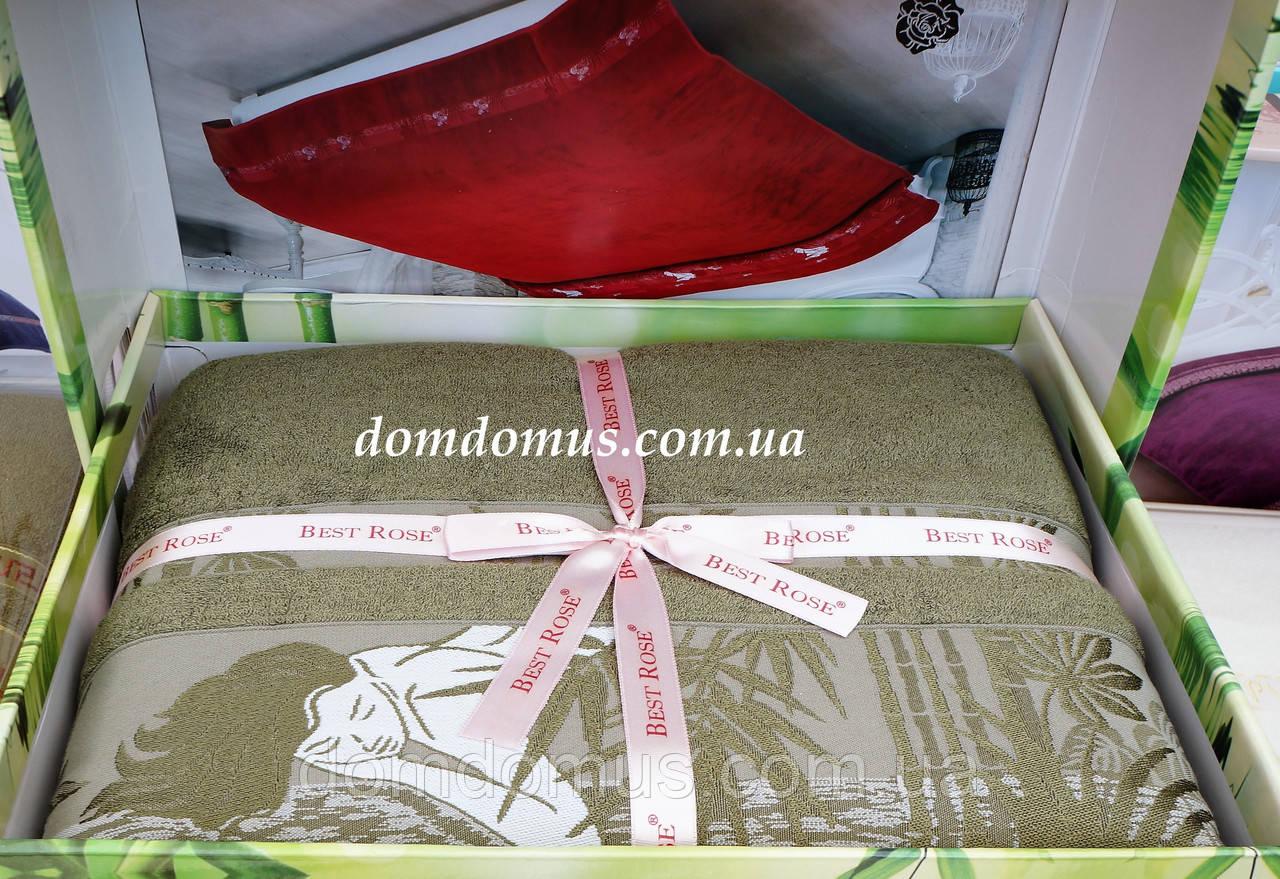 Махровая простынь Best Rose Bamboo 200*220, оливковая
