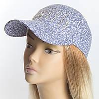 Женская бейсболка голубого цвета с мелким цветочным принтом мелкая россыпь