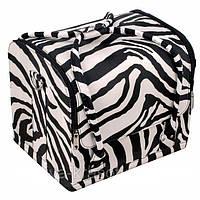 Бьюти Кейс для косметики. Цвет зебра (черно -белая)