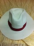 Шляпа мужская белая с синей лентой 56-58, фото 8