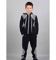 Спортивный костюм  полоска  из свободной кофты и таких же брюк. В черном цвете
