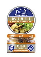 """М""""ясо мідій в ароматній олії 200гр ВМ скло, шт     (Водный мир)    asortiment.kiev.ua"""