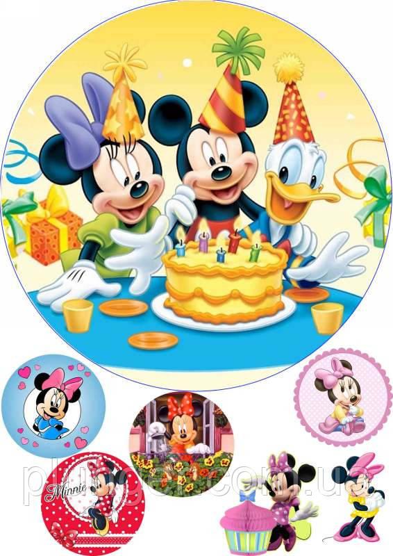"""Вафельная картинка для торта """"Микки Маус и друзья"""", (лист А4, толщина 0.3 мм)"""