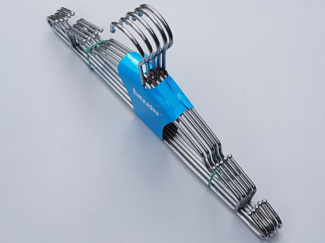 Плечики вешалки тремпеля металлические хромированные усиленные с зацепами, длина 42 см, в упаковке 5 штук