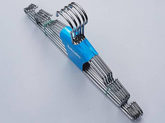 Плечики вешалки тремпеля металлические хромированные усиленные с зацепами, длина 42 см, в упаковке 5 штук, фото 2