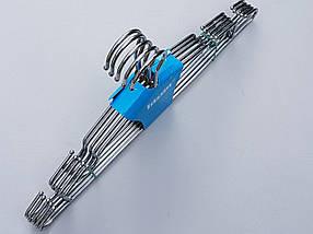 Плечики вешалки тремпеля металлические хромированные усиленные с зацепами, длина 42 см, в упаковке 5 штук, фото 3