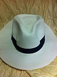 Шляпа мужская белая с синей лентой 56-58, фото 3