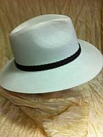 Шляпа летняя белая и молочная мужская с плетёным ремешком
