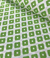 Хлопковая ткань польская ромбы с точками зеленые