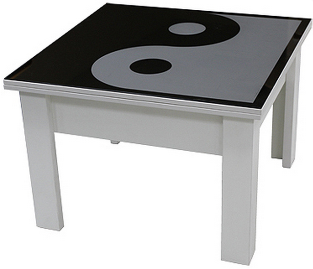 Стол трансформер с декоративной столешницой P06Инь-ян