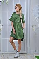 Женское летнее платье с рюшами