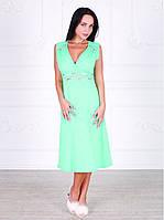 Платье домашнее, сорочка 444 ментолового цвета. Большие размеры.