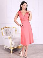 Платье домашнее, сорочка 444 кораллового цвета. Большие размеры.