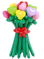 Букет цветов из длинных воздушных шариков + сердечки (11 штук)
