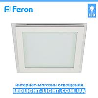 Врезная светодиодная панель Feron  AL2111 6W, квадрат со стеклом