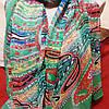 Шарф шёлковый зелёного цвета с разноцветным узором , фото 3