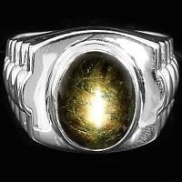 Кольцо. Природный звездный сапфир. Серебро 925