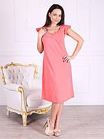 Платье домашнее, сорочка 445 кораллового цвета. Большие размеры.