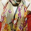 Шарф шёлковый бежевого цвета с цветами , фото 4