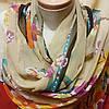 Шарф шёлковый бежевого цвета с цветами , фото 3