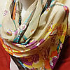 Шарф шёлковый бежевого цвета с цветами , фото 2