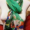 Шарф шёлковый зелёного цвета с цветами , фото 3