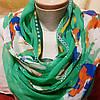 Шарф шёлковый зелёного цвета с цветами , фото 2