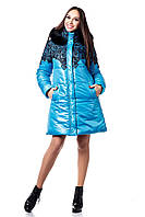 Женская зимняя куртка с кружевной отделкой цвет голубой