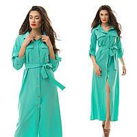 Стильное макси-платье рубашечного кроя с поясом в комплекте