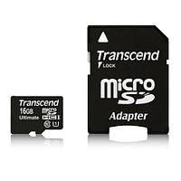 Карта памяти SD-micro 16Gb Transcend Class10 UHS-I Ultimate SD адаптер (TS16GUSDHC10U1)