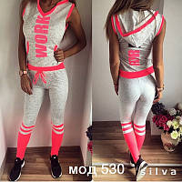 Стильный модный женский спортивный костюм футболка с капюшоном без рукавов