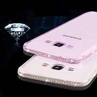 Чехол для Samsung J7 J710 2016 силиконовый ободок со стразами, фото 1