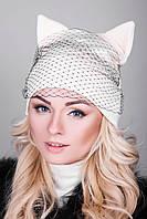Оригинальная молодежная шапка с ушками и с вуалью (3 расцветки)