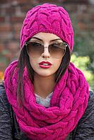 "Комплект шапка+шарф-хомут ""Объемная коса"" (много цветов)"
