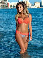 Красивый купальник  бюстгальтер с плотной поролоновой  чашкой 70 А, B 75 B, С оранжевый с черно-белым орнаментом