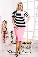 Костюм в морском стиле юбка и блуза в полоску (батал)