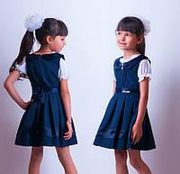 Сарафан школьный синий, черный