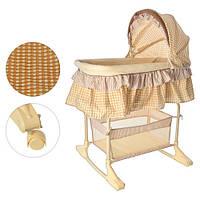 Кроватка-люлька, детская качалка, колеса, навес, корзина, бежевая