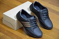 Мужские повседневные туфли черные удобные искусственная кожа Львов 2017. Со скидкой