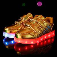 Детские золотые LED кроссовки светящиеся LEDKED Kids V Gold