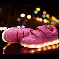 Розовые детские LED кроссовки светящиеся LEDKED Kids Casual Pink