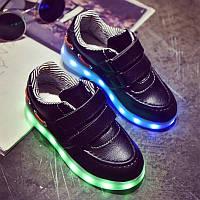 Черные детские LED кроссовки светящиеся LEDKED Kids Casual Black, фото 1