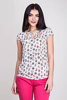 Красивая летняя блуза из ткани стрейч-вискоза, с вырезами капельками