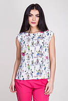 Модная белая блузка с коротким рукавом и ярким принтом