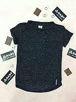 Модная детская черная футболка с удлиненной спинкой. Размер: 116-146
