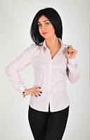 Классическая котонова женская рубашка в мелкий горошек
