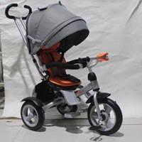Детский трехколесный велосипед  CROSSER Т-503 AIR с фарой, серо-оранжевый