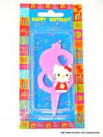 """Свеча на торт детская """"Китти"""" цифра """"8"""" розовая"""